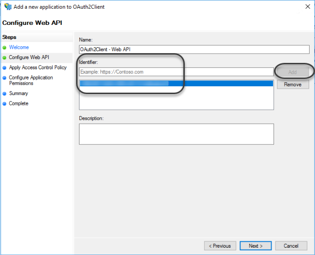 Identity and access management > OAuth authentication