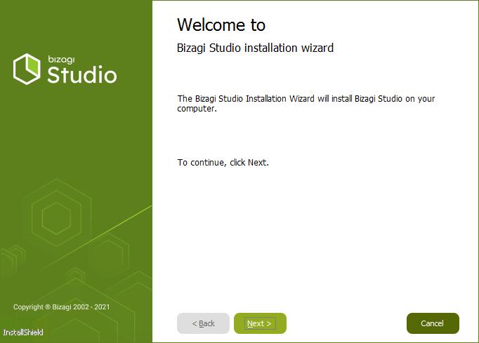 Bizagi Studio > Bizagi Studio installation > Quick start installation