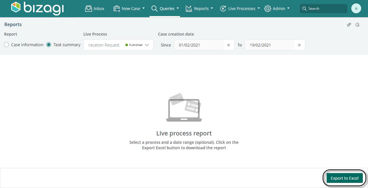 Automation Server > Bizagi Work Portal > Live Processes