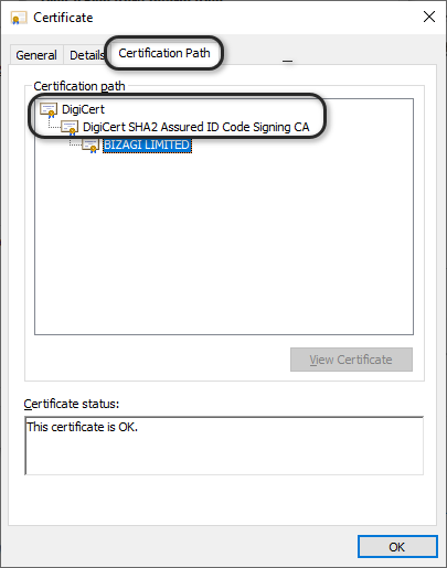 verifying installer bizagi symantec verisign root certificate check studio